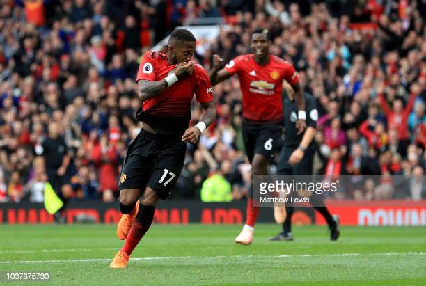 Fred of Manchester United celebrates after scoring his team's first goal during the Premier League match between Manchester United and Wolverhampton...