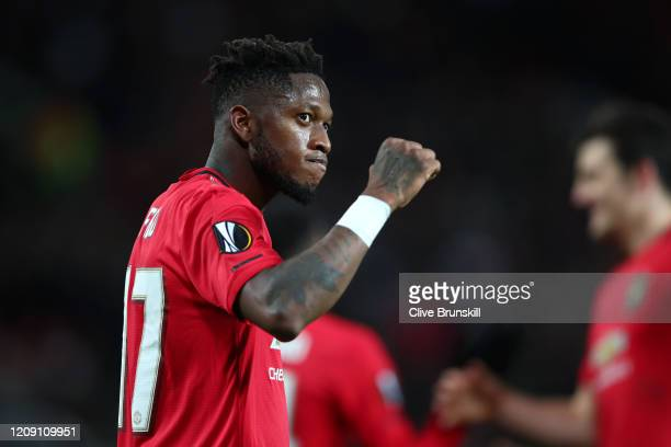 Fred of Manchester United celebrates after scoring his team's fourth goal during the UEFA Europa League round of 32 second leg match between...