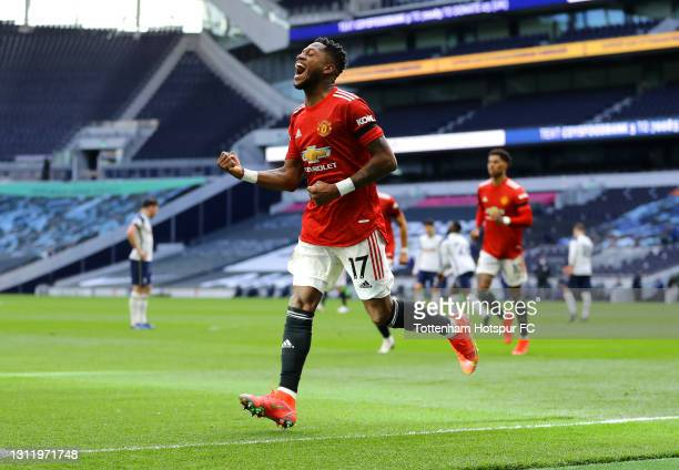 Fred of Manchester United celebrates after scoring their team's first goal during the Premier League match between Tottenham Hotspur and Manchester...