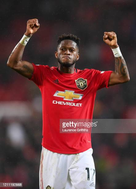 Fred of Manchester United celebrates after the Premier League match between Manchester United and Manchester City at Old Trafford on March 08 2020 in...