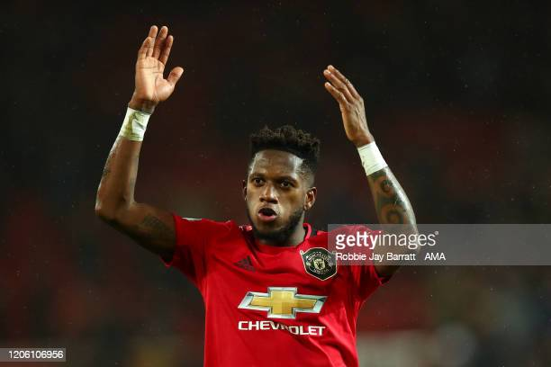 Fred of Manchester United celebrates at full time during the Premier League match between Manchester United and Manchester City at Old Trafford on...