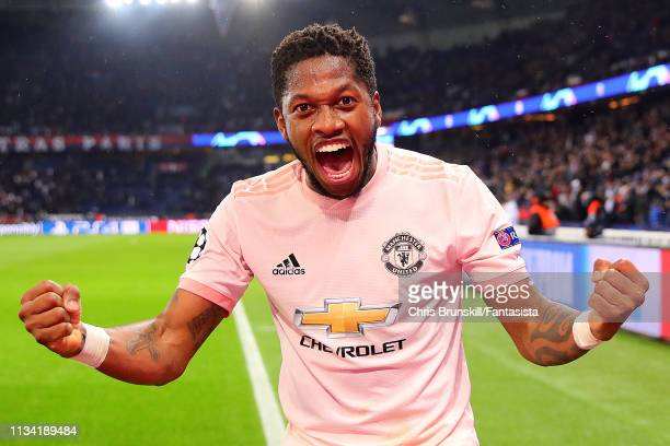 Fred of Manchester United celebrates at full-time following the UEFA Champions League Round of 16 Second Leg match between Paris Saint-Germain and...