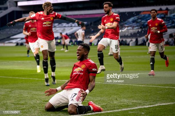 Fred of Manchester United celebrates scoring a goal to make the score 1-1 during the Premier League match between Tottenham Hotspur and Manchester...