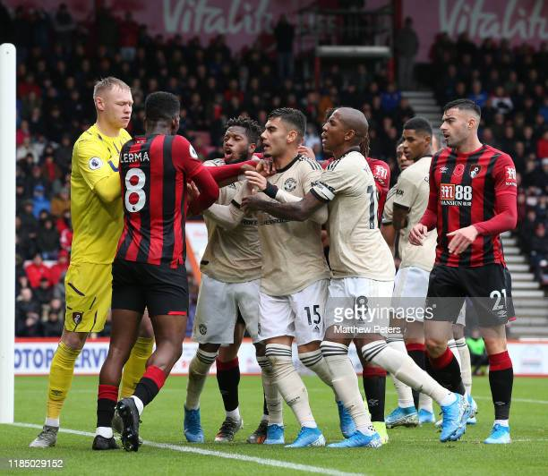 Fred of Manchester United clashes with Jefferson Lerma of AFC Bournemouth during the Premier League match between AFC Bournemouth and Manchester...