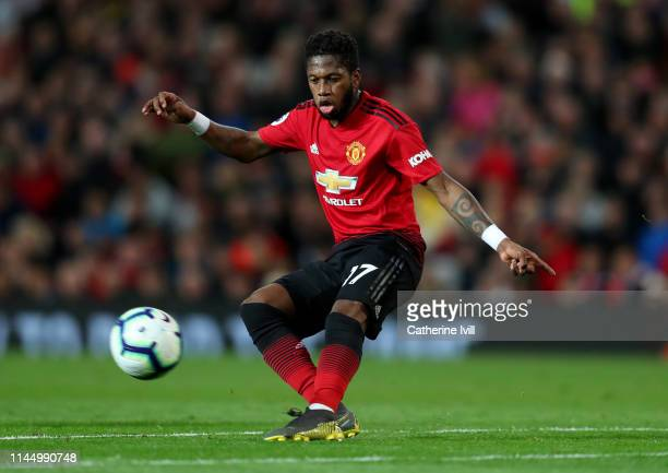 Fred of Manchester United during the Premier League match between Manchester United and Manchester City at Old Trafford on April 24, 2019 in...