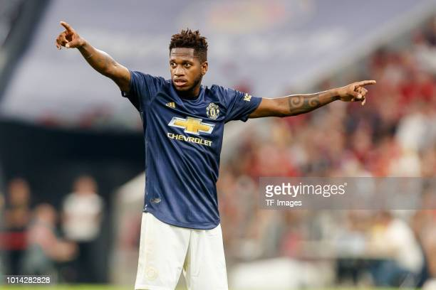 Fred of Manchester United gestures during the friendly match between Bayern Muenchen and Manchester United at Allianz Arena on August 5 2018 in...