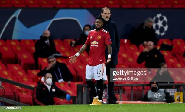 Fred of Manchester United gestures from the edge of the pitch after being sent off during the UEFA Champions League Group H stage match between...