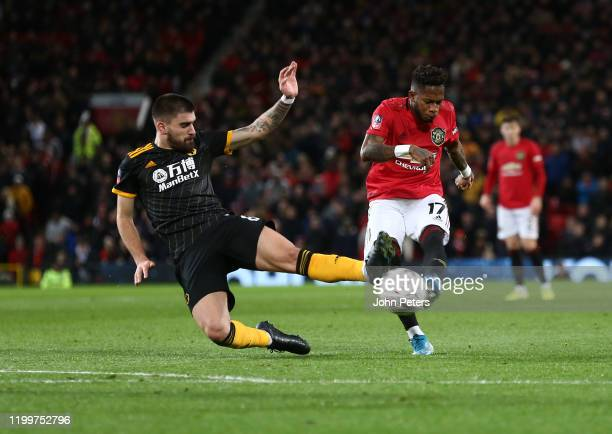 Fred of Manchester United has a shot on goal during the FA Cup Third Round Replay match between Manchester United and Wolverhampton Wanderers at Old...