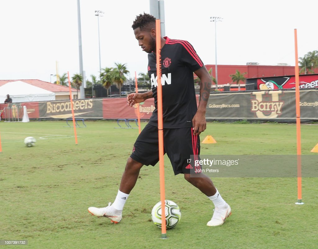 Fred of Manchester United in action during a first team training session as part of their pre-season tour of the USA at Barry University on July 29, 2018 in Miami, Florida.