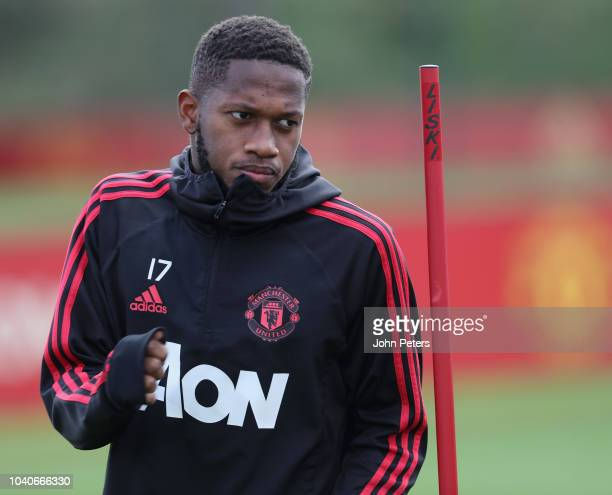 Fred of Manchester United in action during a first team training session at Aon Training Complex on September 26 2018 in Manchester England