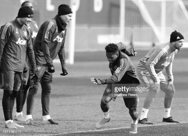 Fred of Manchester United in action during a first team training session at Aon Training Complex on March 11 2020 in Manchester England