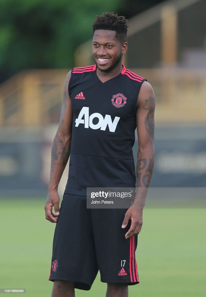 Fred of Manchester United in action during a training session as part of their pre-season tour of the USA at Barry University on July 30, 2018 in Miami, Florida.