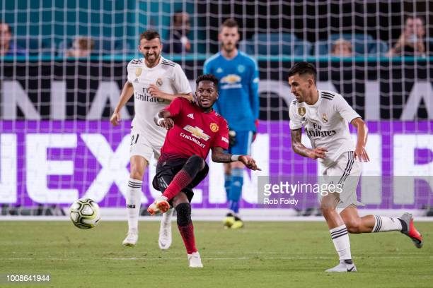 Fred of Manchester United in action during the International Champions Cup match against Real Madrid at Hard Rock Stadium on July 31 2018 in Miami...