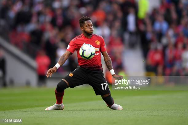 Fred of Manchester United in action during the Premier League match between Manchester United and Leicester City at Old Trafford on August 10 2018 in...