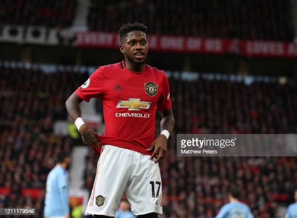 Fred of Manchester United in action during the Premier League match between Manchester United and Manchester City at Old Trafford on March 08 2020 in...