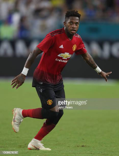 Fred of Manchester United in action during the preseason friendly match between Manchester United and Real Madrid at Hard Rock Stadium on July 31...