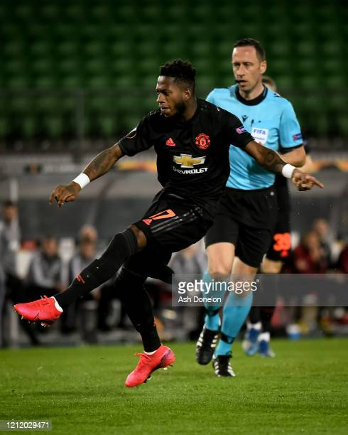 Fred of Manchester United in action during the UEFA Europa League round of 16 first leg match between LASK and Manchester United at Linzer Stadion on...