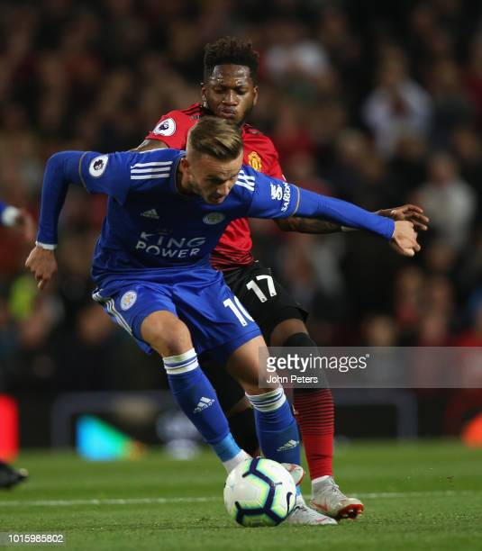 Fred of Manchester United in action with James Maddison of Leicester City during the Premier League match between Manchester United and Leicester...