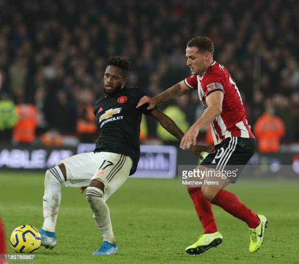 Fred of Manchester United in action with Phil Jagielka of Sheffield United during the Premier League match between Sheffield United and Manchester...
