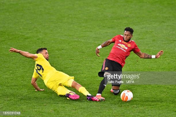 Fred of Manchester United is challenged by Francis Coquelin of Villarreal CF during the UEFA Europa League Final between Villarreal CF and Manchester...