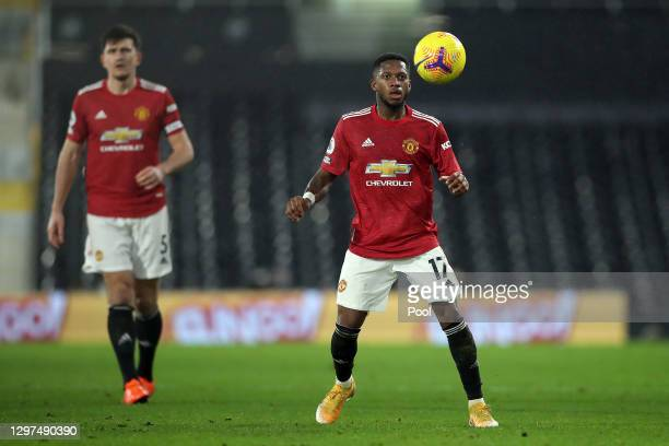 Fred of Manchester United looks to control the ball during the Premier League match between Fulham and Manchester United at Craven Cottage on January...