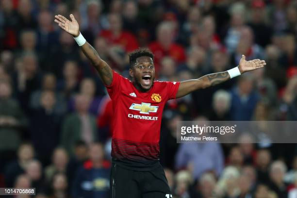 Fred of Manchester United reacts during the Premier League match between Manchester United and Leicester City at Old Trafford on August 10 2018 in...