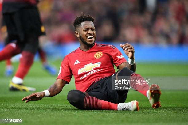 Fred of Manchester United reacts during the Premier League match between Manchester United and Tottenham Hotspur at Old Trafford on August 27 2018 in...