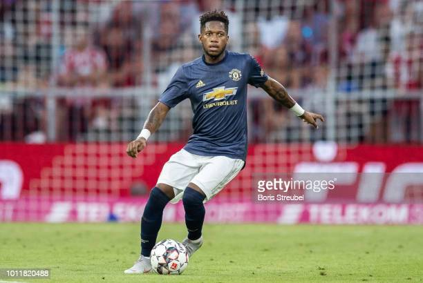 Fred of Manchester United runs with the ball during the friendly match between Bayern Muenchen and Manchester United at Allianz Arena on August 5...