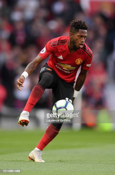 Fred of Manchester United runs with the ball during the Premier League match between Manchester United and Leicester City at Old Trafford on August...