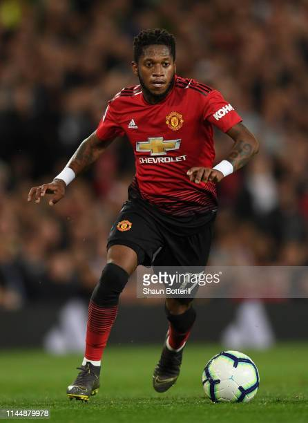 Fred of Manchester United runs with the ball during the Premier League match between Manchester United and Manchester City at Old Trafford on April...