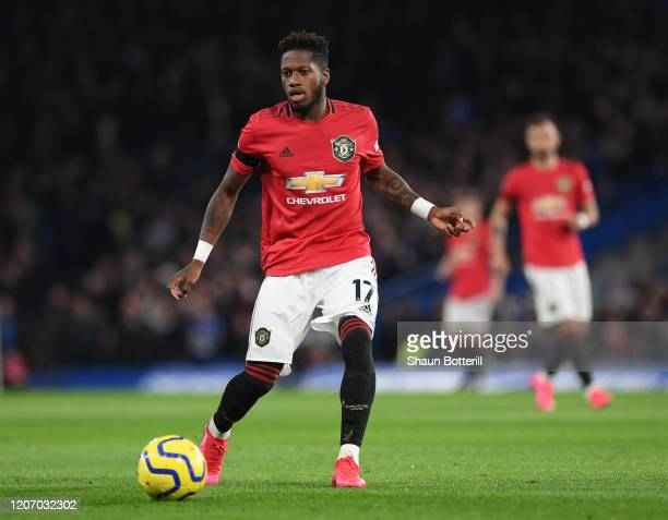 Fred of Manchester United runs with the ball during the Premier League match between Chelsea FC and Manchester United at Stamford Bridge on February...
