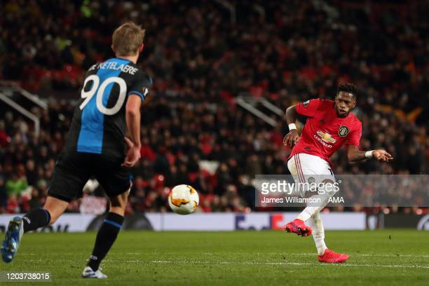 Fred of Manchester United scores a goal to make it 50 during the UEFA Europa League round of 32 second leg match between Manchester United and Club...