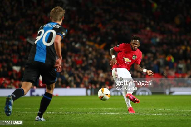 Fred of Manchester United scores his team's fifth goal during the UEFA Europa League round of 32 second leg match between Manchester United and Club...