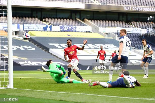 Fred of Manchester United scores his team's first goal past Hugo Lloris of Tottenham Hotspur during the Premier League match between Tottenham...