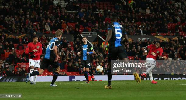 Fred of Manchester United scores their fifth goal during the UEFA Europa League round of 32 second leg match between Manchester United and Club...