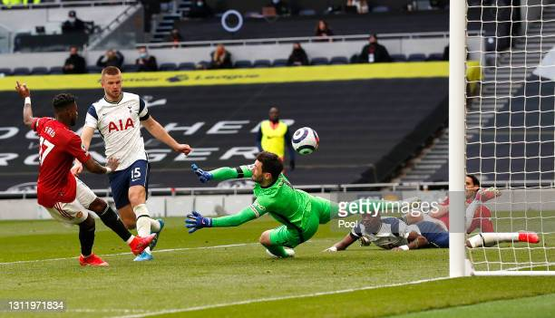 Fred of Manchester United scores their side's first goal past Hugo Lloris of Tottenham Hotspur during the Premier League match between Tottenham...