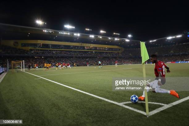 Fred of Manchester United takes a corner at the Stade de Suisse home stadium of BSC Young Boys during the Group H match of the UEFA Champions League...