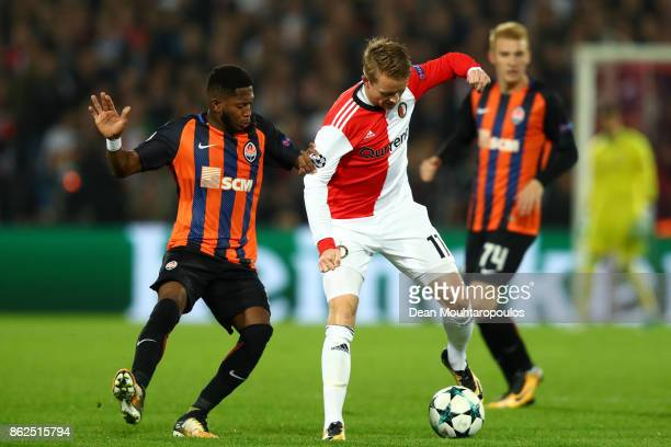 Fred of Shakhtar Donetsk and Sam Larsson of Feyenoord battle for possession during the UEFA Champions League group F match between Feyenoord and...