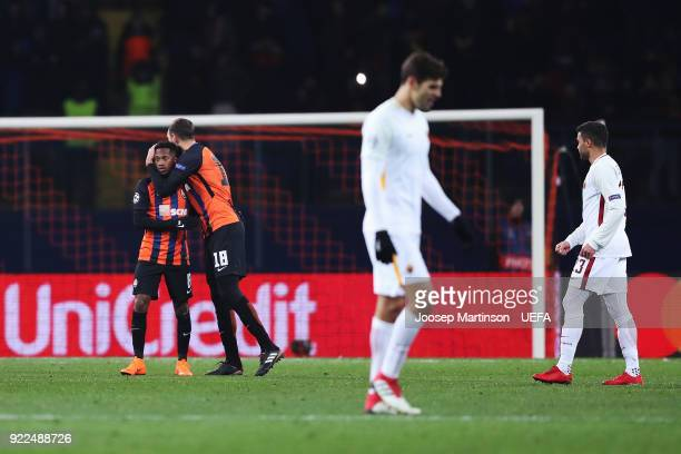 Fred of Shakhtar Donetsk celebrates with Ivan Ordets of Shakhtar Donetsk after the final whistle in the UEFA Champions League Round of 16 First Leg...