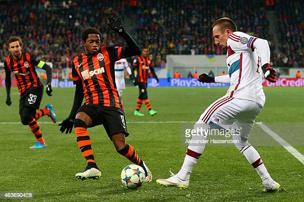 Fred of Shakhtar Donetsk challenges Franck Ribery of Bayern Muenchen during the UEFA Champions League round of 16 first leg match between FC Shakhtar...