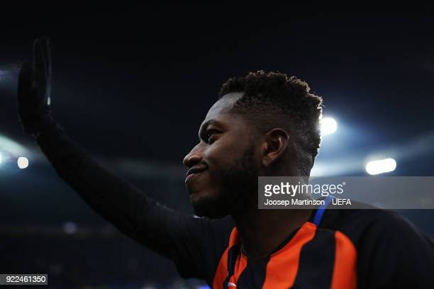 Fred of Shakhtar Donetsk gestures the crowd after the UEFA Champions League Round of 16 First Leg match between Shakhtar Donetsk and AS Roma at...