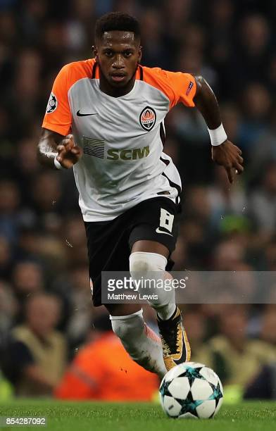 Fred of Shakhtar Donetsk in action during the UEFA Champions League group F match between Manchester City and Shakhtar Donetsk at Etihad Stadium on...