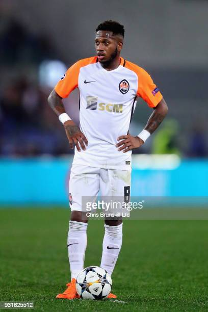 Fred of Shakhtar Donetsk prepares to take a free kick during the UEFA Champions League Round of 16 Second Leg match between AS Roma and Shakhtar...