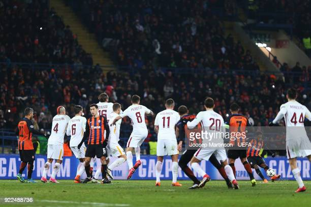 Fred of Shakhtar Donetsk scores a goal during the UEFA Champions League Round of 16 First Leg match between Shakhtar Donetsk and AS Roma at Metalist...