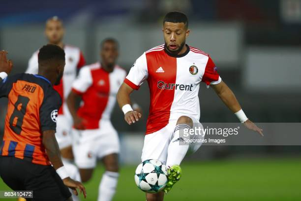 Fred of Shakhtar Donetsk Tonny Vilhena of Feyenoord during the UEFA Champions League match between Feyenoord v Shakhtar Donetsk at the Feyenoord...