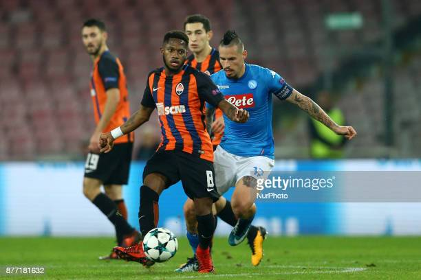 Fred of Shakhtar Donetsk vies Marek Hamsik of Napoli during the UEFA Champions League Group F football match Napoli vs Shakhtar Donetsk on November...