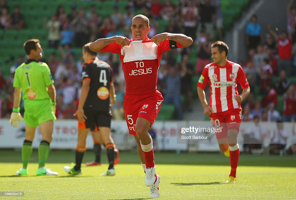 Fred of the Heart celebrates after scoring his teams third goal during the round 15 A-League match between the Melbourne Heart and the Brisbane Roar at AAMI Park on January 6, 2013 in Melbourne, Australia.