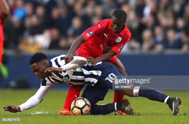 Fred Onyedinma of Millwall is put under pressure from Nampalys Mendy of Leicester City during The Emirates FA Cup Fifth Round match between Millwall...
