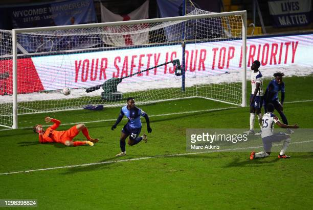 Fred Onyedinma of Wycombe Wanderers celebrates after he scores his sides first goal during The Emirates FA Cup Fourth Round match between Wycombe...