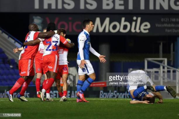 Fred Onyedinma of Wycombe Wanderers celebrates after scoring a goal to make it 1-2 during the Sky Bet Championship match between Birmingham City and...